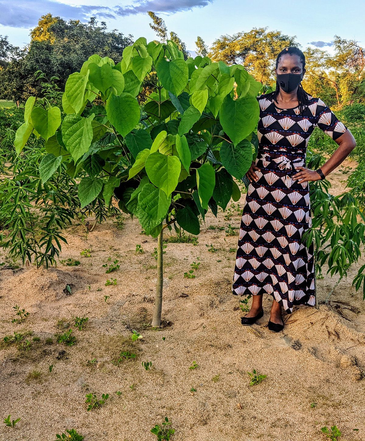 A woman stands next to a one-year-old leafy tree.