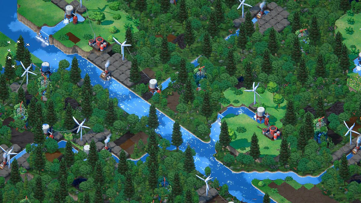 A screenshot from the game Terra Nil, showing a forested community around a river.